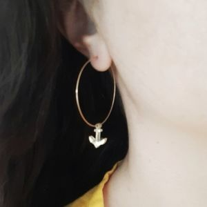 Delicate Gold Fill Mirror Anchor Hoop Earrings